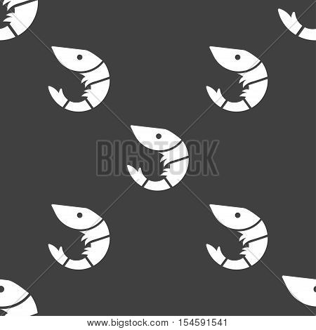 Shrimp, Seafood Icon Sign. Seamless Pattern On A Gray Background. Vector