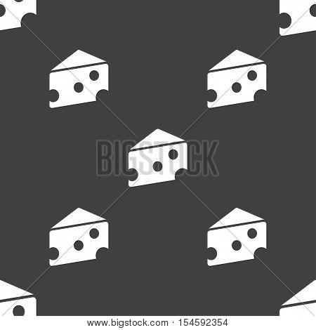 Cheese Icon Sign. Seamless Pattern On A Gray Background. Vector