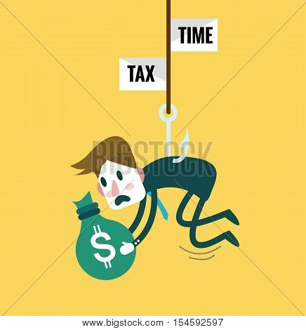 Tied Business Man with tax fishing hook. Tax abandon concept. flat design elements. vector illustration