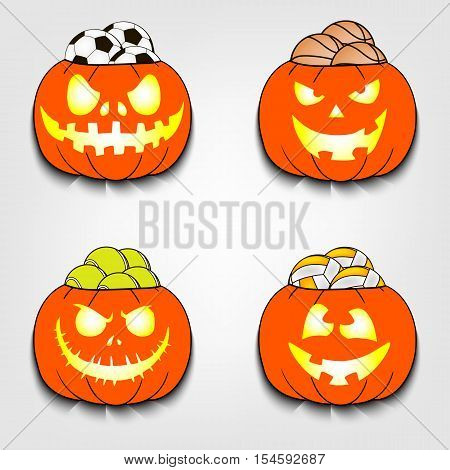 Set of sport balls lying in a Halloween pumpkins. Vector illustration