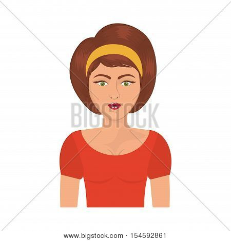 half body woman with headband and short brown hair vector illustration