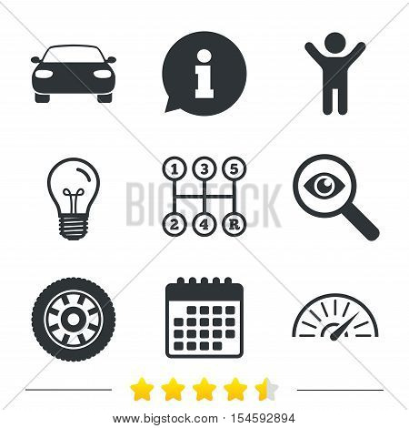 Transport icons. Car tachometer and mechanic transmission symbols. Wheel sign. Information, light bulb and calendar icons. Investigate magnifier. Vector