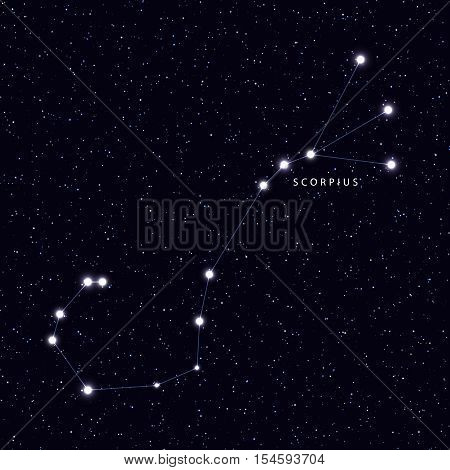 Sky Map with the name of the stars and constellations. Astronomical symbol constellation Scorpius