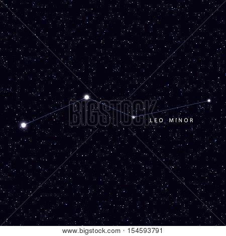 Sky Map with the name of the stars and constellations. Astronomical symbol constellation Leo Minor