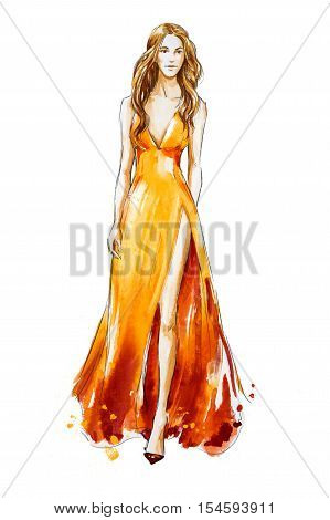 Fashion sketch, hand drawn. Watercolor dress. Catwalk