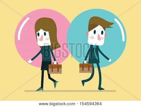 Business people in comfort zone balloon. Egoism relationship and Comfort zone concept. flat character design. vector illustration