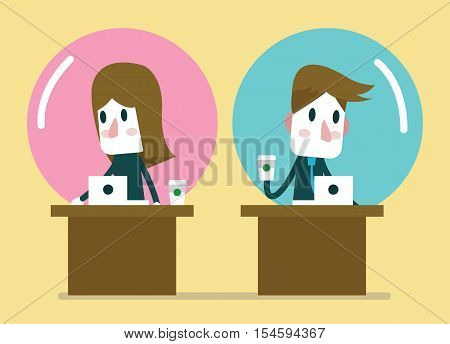 Business people working in comfort zone balloon. Egoism relationship and Comfort zone concept. flat character design. vector illustration