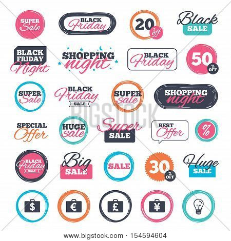 Sale shopping stickers and banners. Businessman case icons. Cash money diplomat signs. Dollar, euro and pound symbols. Website badges. Black friday. Vector