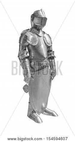 historic full body metallic plate armour in white back