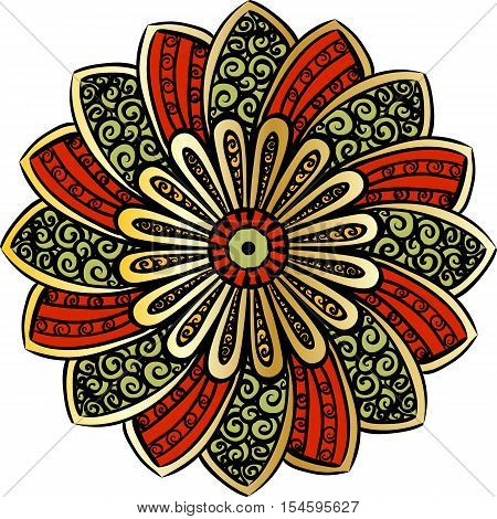 Drawing of a floral mandala in gold and red colors on a white background. Hand drawn tribal  vector stock illustration
