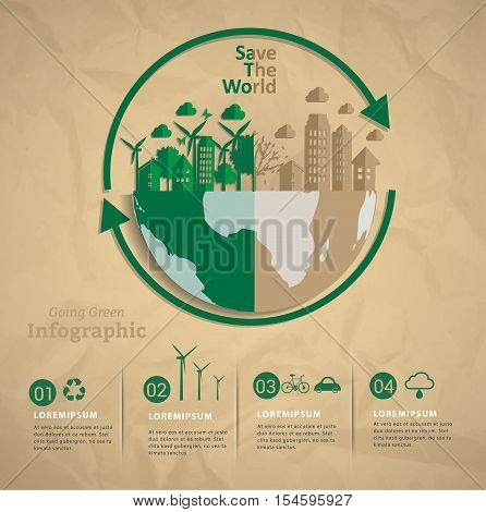 Vector infographic elements.Let's save the world together. renewable energy and sustainable development.Ecology Recycling concept design.Can used for banner presentation business brochure leaflet .