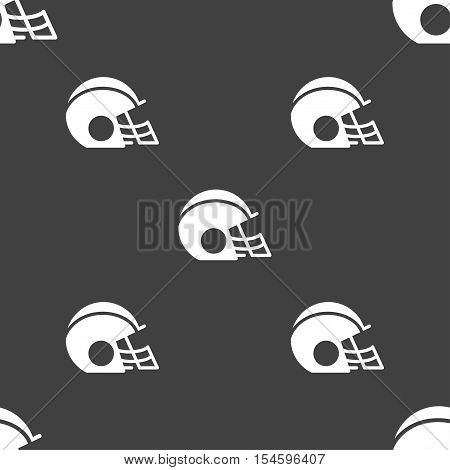 Football Helmet Icon Sign. Seamless Pattern On A Gray Background. Vector