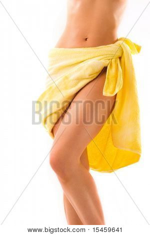 slim body and yellow towel