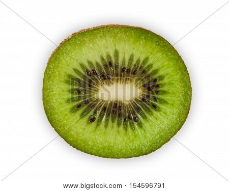 One fresh kiwi half isolated on white background. Closeup image of sweet exotic tropical kiwifruit core cut, healthy natural organic food