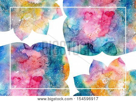 Watercolor blue yellow and pink abstract flowers and white frame. Fairytale colorful background