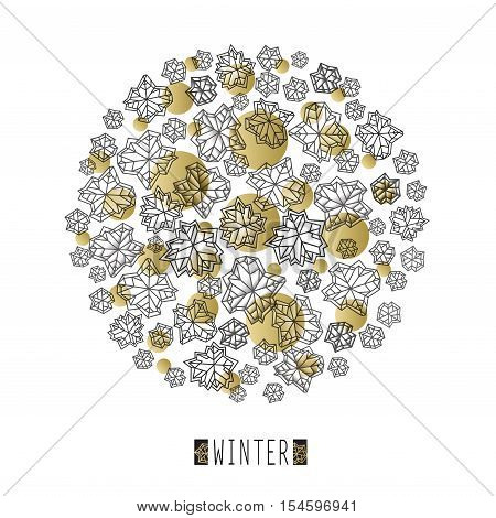 Round snowflakes concept design with winter label. Polygonal trendy style snowflakes on white gold background. Winter holidays snowfall design. Vector illustration stock vector.
