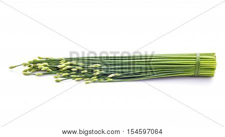 Chives Flower Or Chinese Chive Isolated On White Background. Edible Flowers.