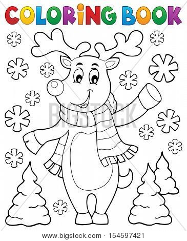 Coloring book stylized Christmas deer - eps10 vector illustration.