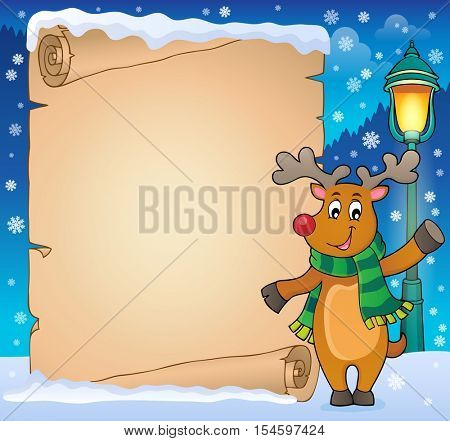 Parchment with stylized Christmas deer - eps10 vector illustration.