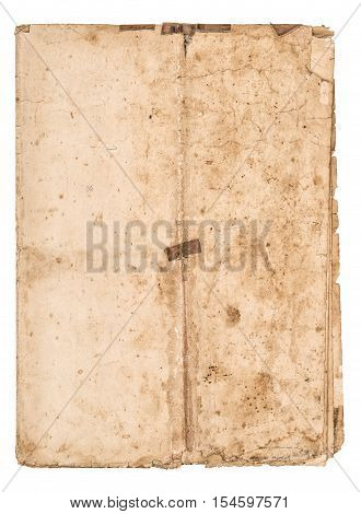 Worn falded paper sheet isolated on white background. Used stained paper texture