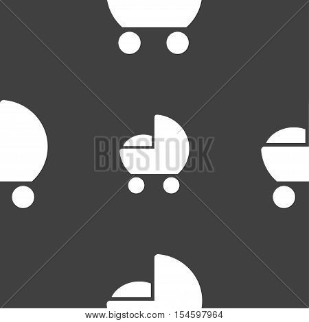 Baby Pram Icon Sign. Seamless Pattern On A Gray Background. Vector