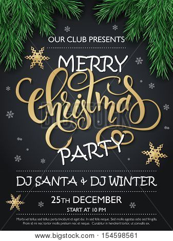 Vector merry christmas party poster with christmas fir-tree branches, golden stars and lettering greetings word - christmas, and snowflakes.