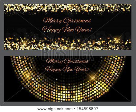 Gold sparkles Banners. Abstract Beauty Merry Christmas and New Year Background . Vector illustration EPS10