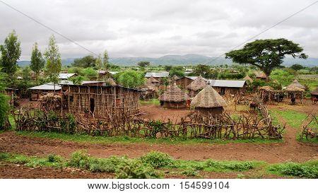Traditional Konso tribe village in Karat Konso Ethiopia