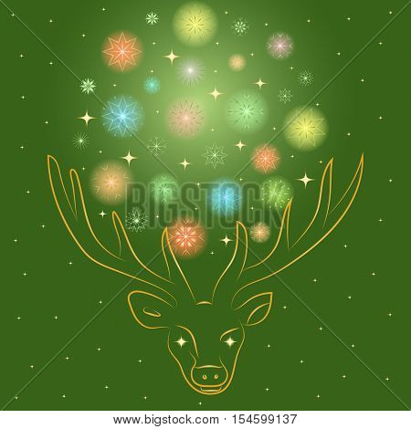 Colorful Shinning Snowflakes Arranged in a Shape of a Circle Between Deer's Horns. Hand Drawn Golden Silhouette of Reindeer. Perfect for Festive Design.