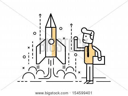 Rocket Startup, Businessman Control Space Shuttle. Flat Line Design Elements. Vector Illustration