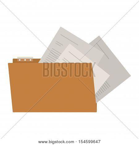 open folder with sheets inside vector illustration
