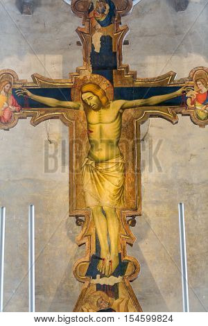 PADUA, ITALY - MAY3, 2016: The Crucifixion from year 1370 by Guariento in the presbytery of church Chiesa degli Eremitani. Padua Italy