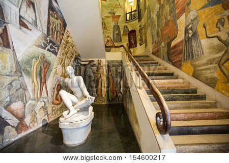 PADUA, ITALY - MAY3, 2016: Palazzo Bo marble entrance stair made by the italian architect Gio Ponti at the historical building home of the Padova University from 1539 in Padua.