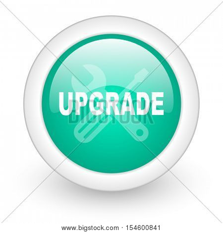 upgrade round glossy web icon on white background