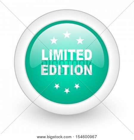 limited edition round glossy web icon on white background