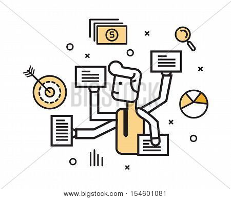 Businessman with multi tasking work. flat line design elements. vector illustration