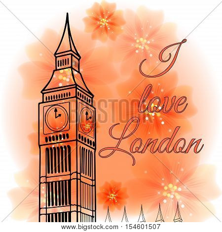Illustration of attractions of London on a background with flowers - Big Ben