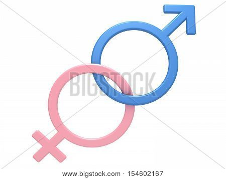 Male and female gender symbols, close-up on a white background, 3D illustration.