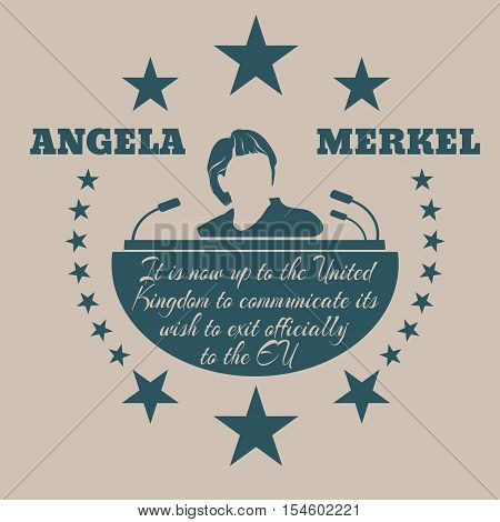January 17, 2016: A vector illustration of a portrait of german chancellor angela merkel portrait. Herself quote text