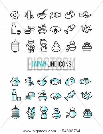 Japan 2 Style Icons Set, Flat Thin Line And Mono Icons Style. Vector
