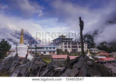 Tengboche Monastery in Tengboche, Morning time. After raining. Everest region, Nepal