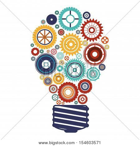 bulb with gears and idea focus vector illustration