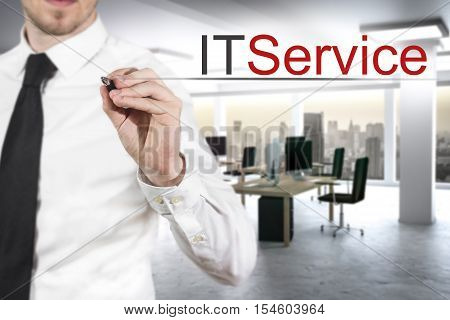 businessman expert in office writing it service in the air