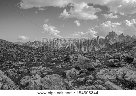Trentino Alto Adige Italy. Three peaks Lavaredo beautiful dolomites mountains.