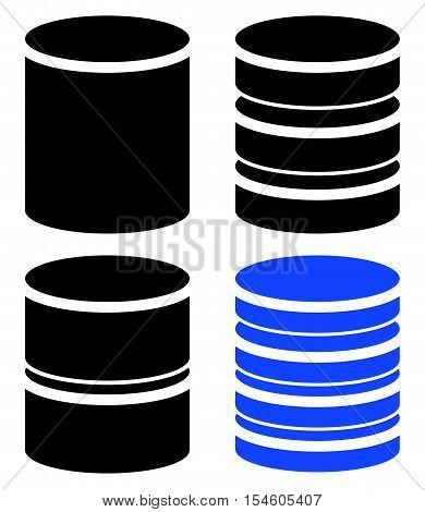 Different Barrel (cylinder) Shape Symbol, Icon Set