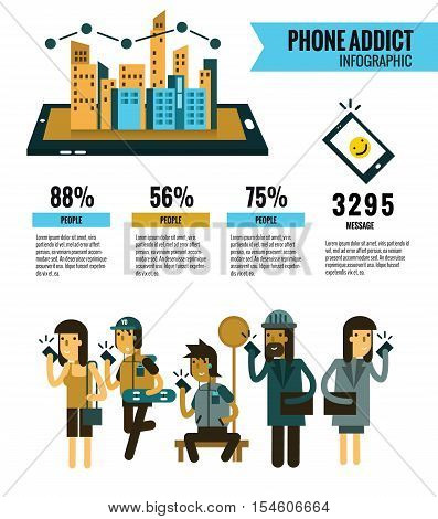 Smartphone Addict Info Graphic. People Holding Cell Smartphone.