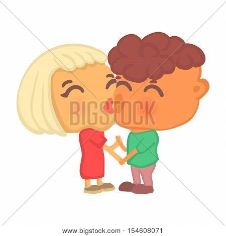 Cute cartoon style hipster couple in love on a date standing cheek to cheek holding hands and kissing. Boy and girl together, two big head characters in romantic pose isolated on white background.