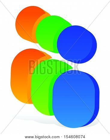Icon With 3 Human Pictograms - Colorful 3D Icon For Partnership, Company, Social Concepts