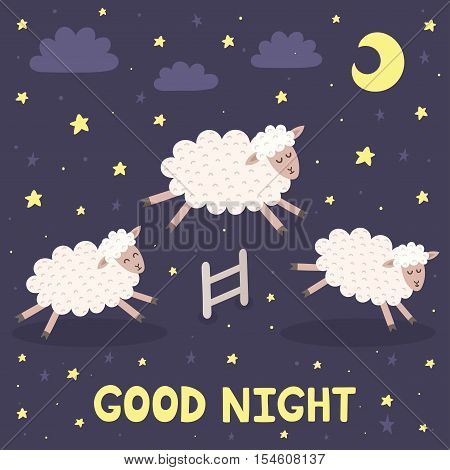 Good night card with the cute sheeps jumping over a fence. Sweet dreams background. Vector illustration