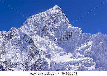 closed up view of Lhotse peak from Gorak Shep. During the way to Everest base camp. Sagarmatha national park. Nepal.